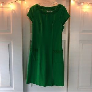 Boden Kelly Green Dress with Lace Detailing